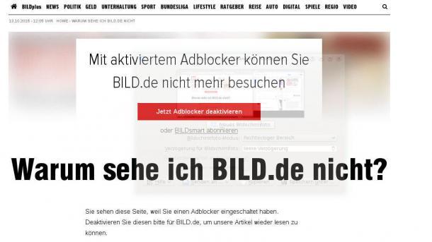 Bild.de blockt Werbeblocker