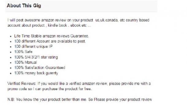 Fake-Bewertungen auf Amazon von Fiverr-Rezensenten