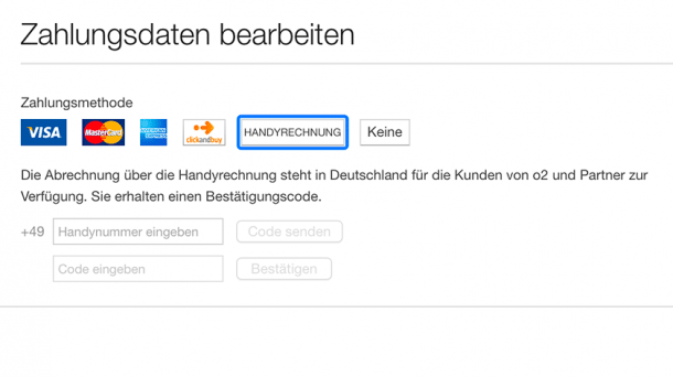 iTunes Store Zahlungsmethoden