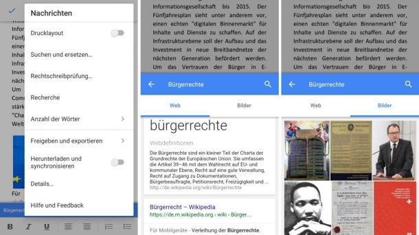 Googles Office-Apps und Hangouts mit neuen Funktionen