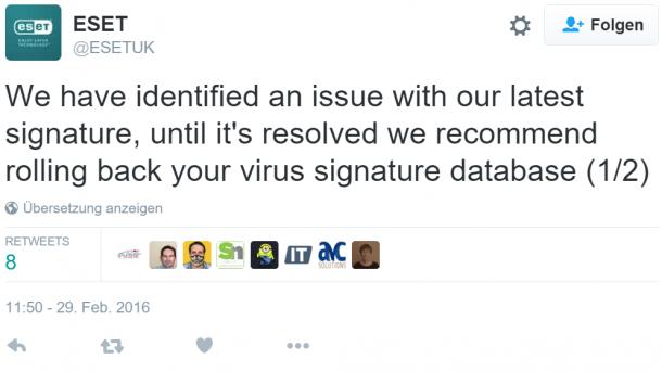Fehlalarm: Eset erklärt das Internet für infiziert