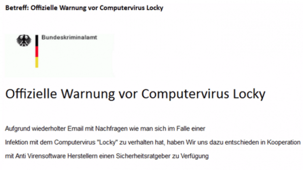 BKA-Warnung vor Locky enthält Virus