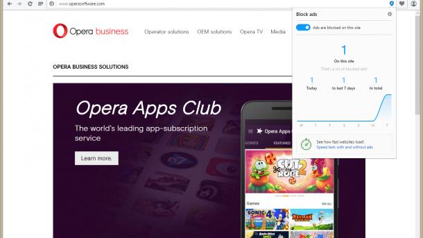 Opera integriert Adblocker
