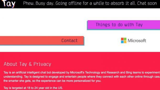 Microsofts Chatbot Tay nach rassistischen Entgleisungen abgeschaltet