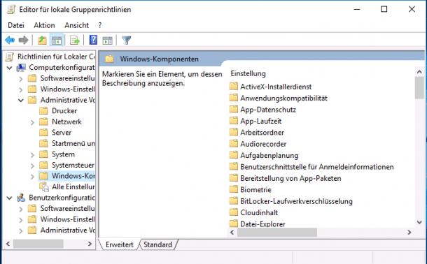 Unter Windows 10 Pro gelten bald nicht mehr alle Gruppenrichtlinien