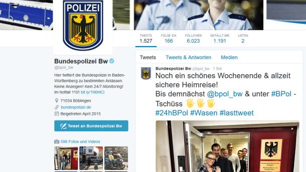 Mit Wortwitz auf dem Wasen: 24-Stunden-Twittern der Bundespolizei