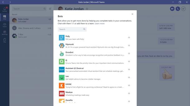 Screenshot mit Liste von Microsoft-Teams-Bots