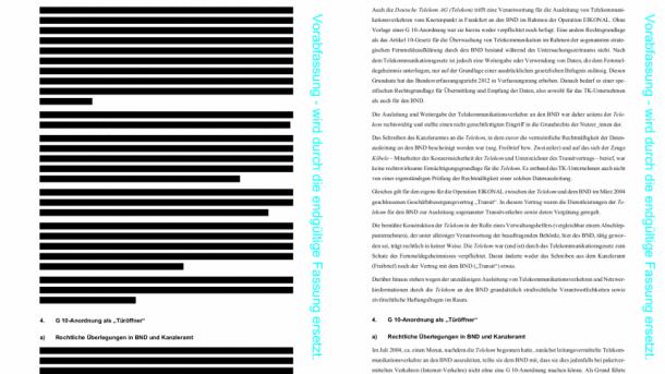 NSAUA-Abschlussbericht teilweise entschwärzt