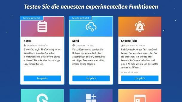 Firefox Testpilot mit neuen Funktionen