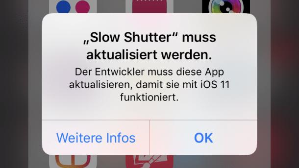Achtung Datenverlust: iOS 11 öffnet alte Apps nicht mehr