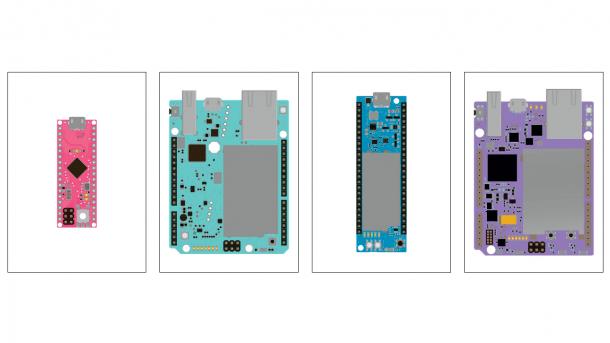 Bunte schematische Zeichnungen von Mikrocontrollerboards in pink, türkis, grün und lila