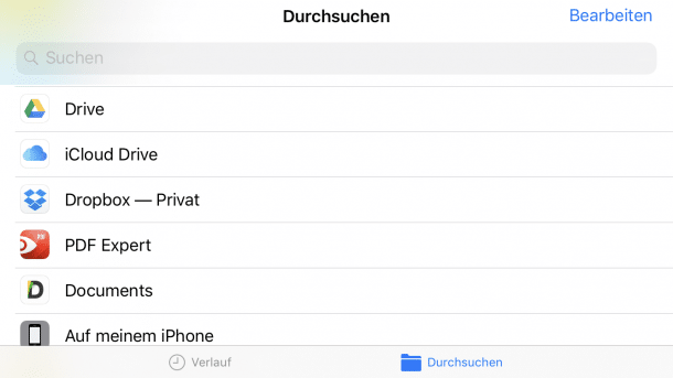 Apples Dateien-App