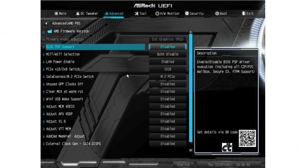 """BIOS-Setup des ASRock AB350M Pro4 mit Option """"BIOS PSP Support"""""""