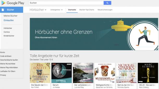 Google Play hat nun auch Hörbücher