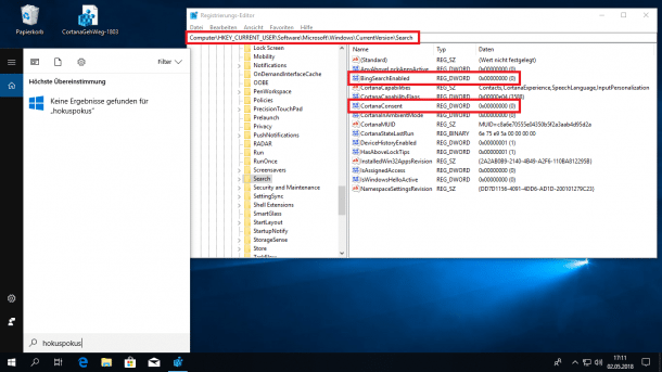 Windows 10 Version 1803: Änderung beim Abschalten der Web-Suche