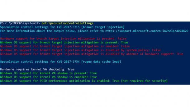 Get-SpeculationControlSettings auf Windows 10 1803 ohne KB4090007