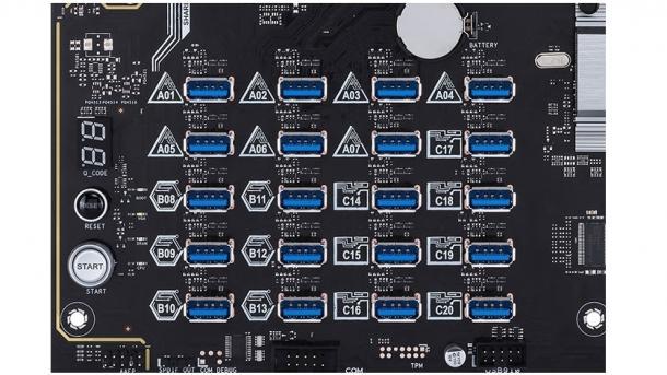 Mining-Mainboard für 20 GPUs: Asus H370 Mining Master mit 20 PCIe-zu-USB-Ports