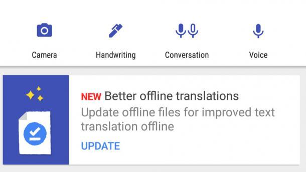 Google Translate mit verbesserter Offline-Übersetzung