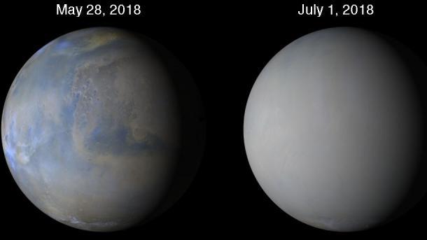 Planetenweiter Sandsturm auf dem Mars: Opportunity weiter inaktiv, Curiosity arbeitet