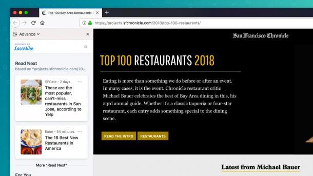 Firefox-Erweiterung Advance empfiehlt Webseiten beim Surfen