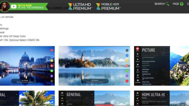 UHD Alliance: Web-Anleitungen für korrekte HDR-Einstellungen