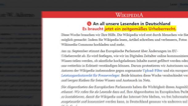 Upload-Filter: Wikipedia ruft zum Protest gegen Reform des Urheberrechts