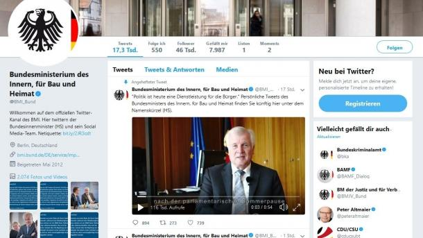 Bundesinnenminister Seehofer twittert jetzt, Redaktion überfordert