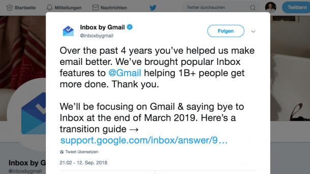 Google stellt Gmail-Client Inbox ein