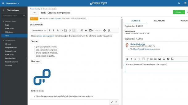 OpenProject 8.0: Neuer Texteditor und neue Diagramme