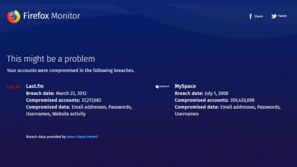 Firefox Monitor informiert bei gehackter E-Mail-Adresse