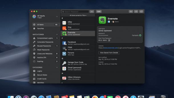 1Password: Komfortfunktion fällt unter macOS Mojave weg