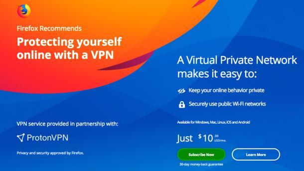 Mozilla berwirbt VPN-Dienst im Firefox-Browser