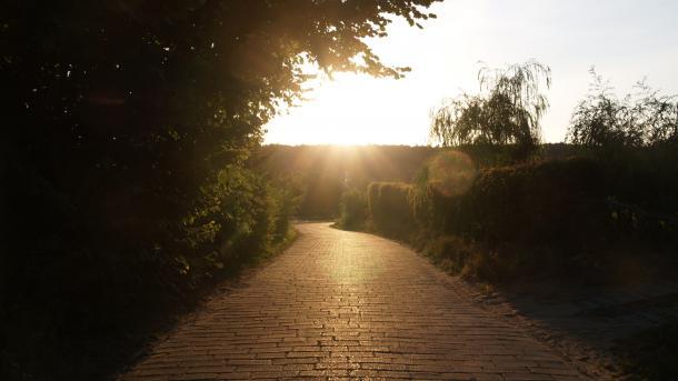 Abendsonne über einem einsamen Weg