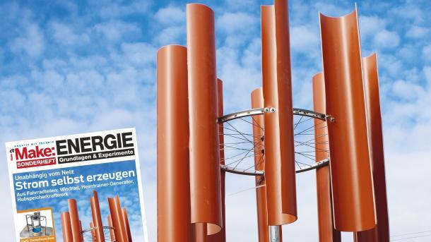 Cover des Make Sonderhefts 2018 Energie mit einem Windrad aus Fahrradteilen