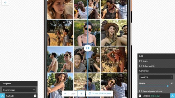 Google Squoosh komprimiert Bilder im Browser