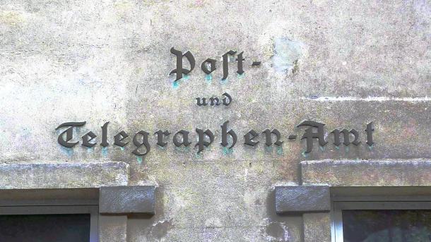 """Aufschrift """"Post- und Telegraphen-Amt"""""""