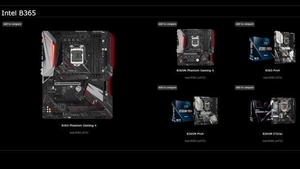 ASRock-Mainboards mit Intel-Chipsatz B365