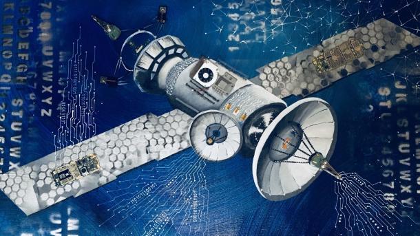 Bild eines Satelliten auf einer Leinwand, blauer Hintergrund, im Bild sind Elektronikteile eingearbeitet.