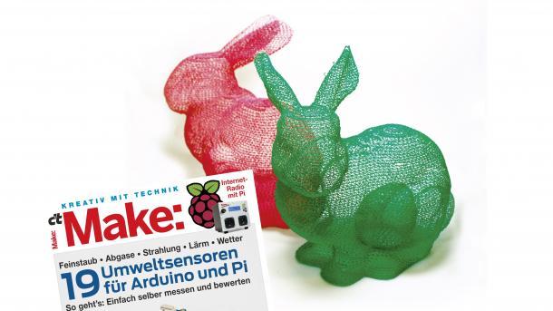 Make 1/1 vor zwei Hasen in Meshform aus dem 3D-Drucker.