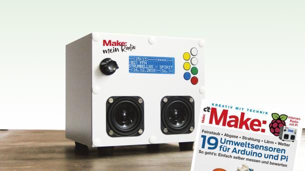 Make 1/19 vor einem Webradio in weißem Gehäuse.
