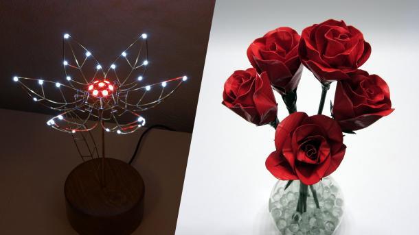 Collage aus Drahtblumen, mit LED-Blüten oder Gaffer-Blättern.