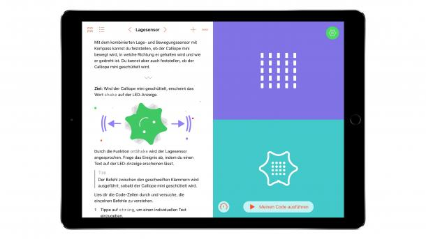 iPad mit geöffnetem Calliope mini Swift Playground.