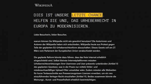 Protest gegen EU-Urheberrechtsreform: Deutschsprachige Wikipedia offline für einen Tag