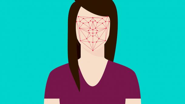 Zeichnung einer gesichtslosen Frau mir Dreiecken in der Gesichtspartie