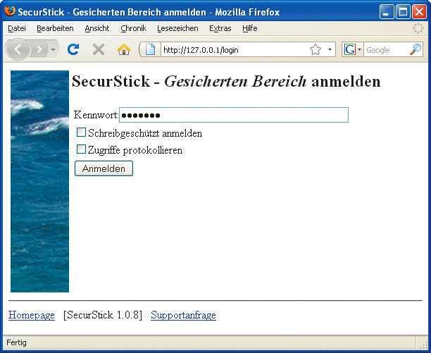 SecurStick bedient sich zur Darstellung seiner Bedienoberfläche des Browsers.