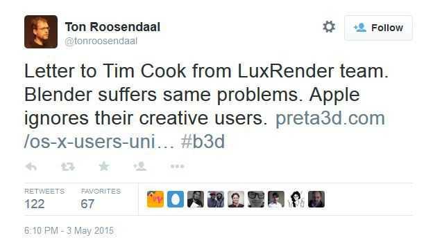 Apple ignoriert seine kreativen Nutzer, schreibt der Chairman der Blender Foundation auf Twitter.