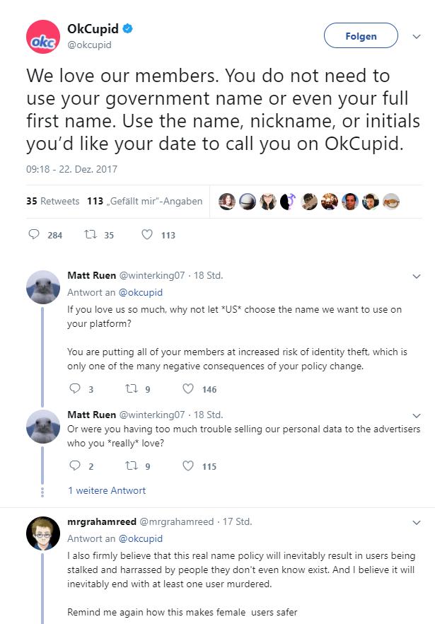 Auf Twitter erntet der Aufruf zu Realnamen auf OkCupid viel Kritik.