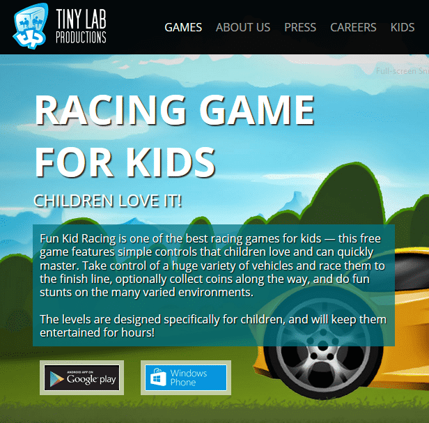 "Screenshot ""RACING GAME FOR KIDS"""