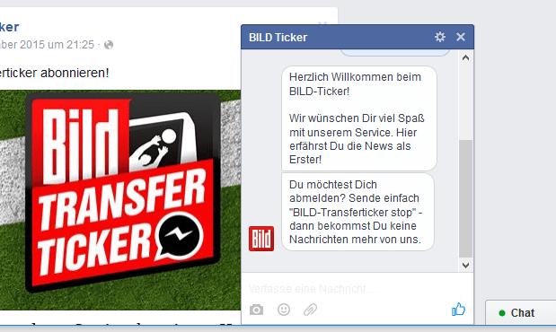 Transfer-Gerüchte per Chat: Bild verschickt Nachrichten via Messenger.